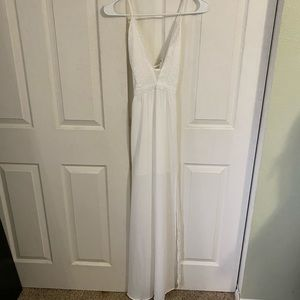 White lace maxi dress.  Perfect for brides!